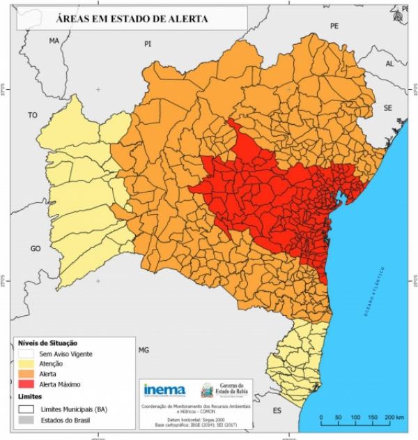 Mortugaba, Malhada de Pedras e Condeúba recebem alerta de chuvas intensas do INEMA