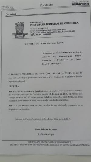 Condeúba: Prefeito decreta ponto facultativo nas repartições públicas, segunda-feira dia 13 de maio