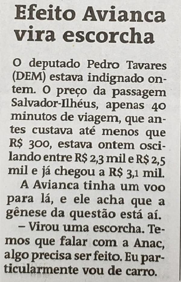 Pedro Tavares expõe sua indignação em relação à prática abusiva das tarifas aéreas